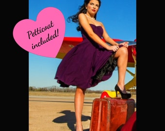 """Vintage PLUM Purple Dress 38"""" length with Tulle Petticoat handmade by Hardley Dangerous Couture, Rockabilly Punk Pin Up Party"""
