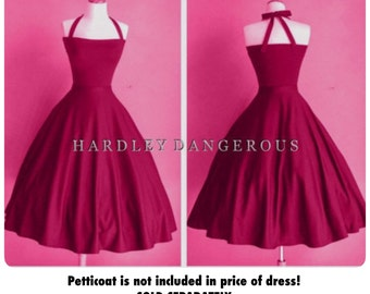 Ruby Rose Pink BRIDESMAID Halter Dress by HARDLEY DANGEROUS,  1950s Pin Up Rockabilly Party Dres, Misses and Plus Size