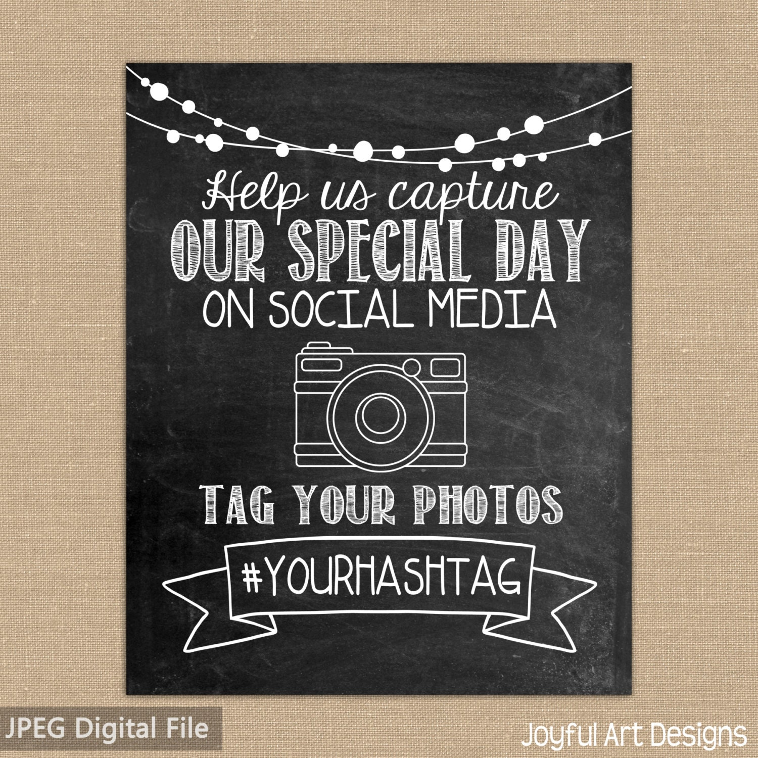 Social media hashtag wedding decor printable chalkboard sign for Decor hashtags