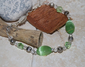 Mint Green and Silver Bracelet