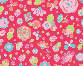 Patchwork Quilting Fabric Riley Blake Flutterberry C4590 Red