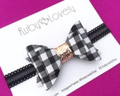 Baby/Girls Black and White Bow, Gingham Bow, Black White Gold Headband/Clip, Black White Plaid Bow,  Black White Gingham Bow, Ruby Lovely