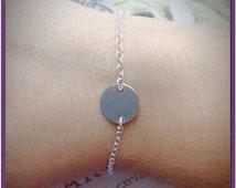 Sterling Silver Disc Bracelet - Blank Disc Bracelet - Hand Stamped Initial Option - Simple Coin Bracelet - Single Disc Charm - Dot Bracelet