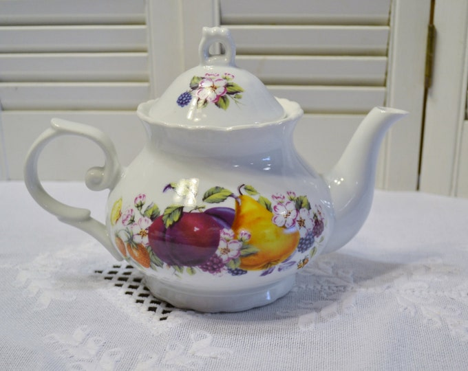 Ceramic Teapot with Fruit Design Apple Pear White Red Yellow PanchosPorch