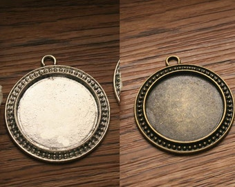 30mm circle glass cabochon bezels pendant trays cabochons necklace settings cameo bases blanks PTR30-20575-20711