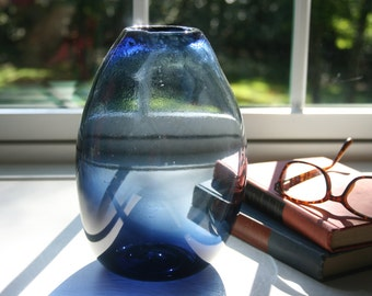 Hand Blown Glass Vase, Transparent Navy Blue, Handblown, Large, Teardrop Vase, Modern, Minimalist, The Studio at Penny Lane, Rustic