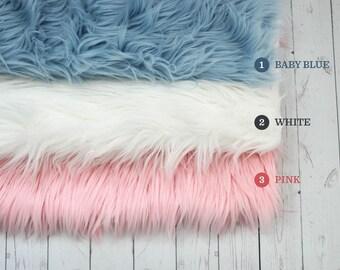 RTS, Mongolian Newborn Fur, Basket Stuffer, Backdrop Prop, Newborn Layer, Boy Girl Newborn Prop, Newborn Fur Layer Baby Blue White Pink