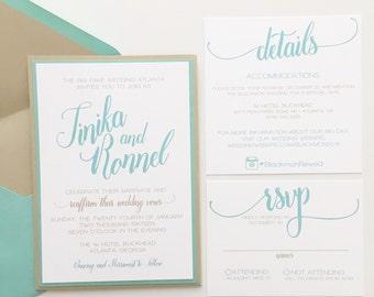 Wedding Invitation Pocket Modern Jewel Tones Wedding Invite | DEPOSIT to BEGIN
