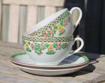 Vintage Hand Painted Green Floral Pattern Japanese Tea Cups & Saucers/Made in Japan/Tea Set/Cup and Saucer/Flower Pattern