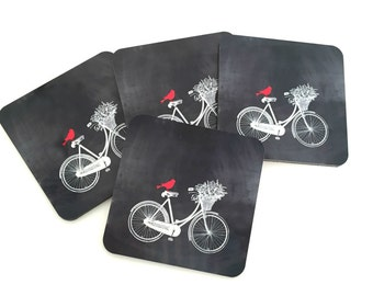 Bicycle Coaster Set - Bike Coasters - Drink Coasters with Red Bird - Rustic Cottage Decor and Barware - Housewarming or Hostess Gift