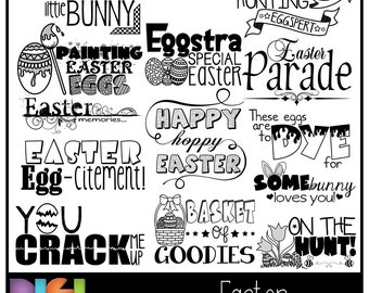 50% OFF~EASTER Word Art (PNG Clip Art) + Photoshop Brush Set, Scrapbooking, Card making, Phrases, Quotes, Easter ~ Instant Download