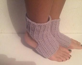 new! gray Yoga Socks crochet Pilates Socks gray Socks  Slipper Socks Women Socks Yoga Socks Toeless Ballet Pilates Dance Warmers Crocheted