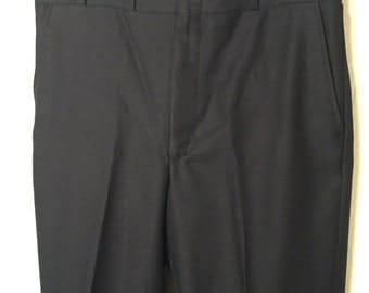Vintage Midnight Blue Size 35 Large L Unhemmed Deadstock Polyester Twill Higgins Slacks Pants