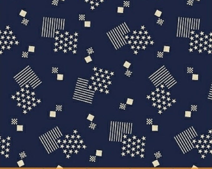 One Yard Let Freedom Ring - Flag Boxes in Navy - Patriotic Cotton Quilt Fabric - by Nancy Gere for Windham Fabrics - 40949-1 (W3039)