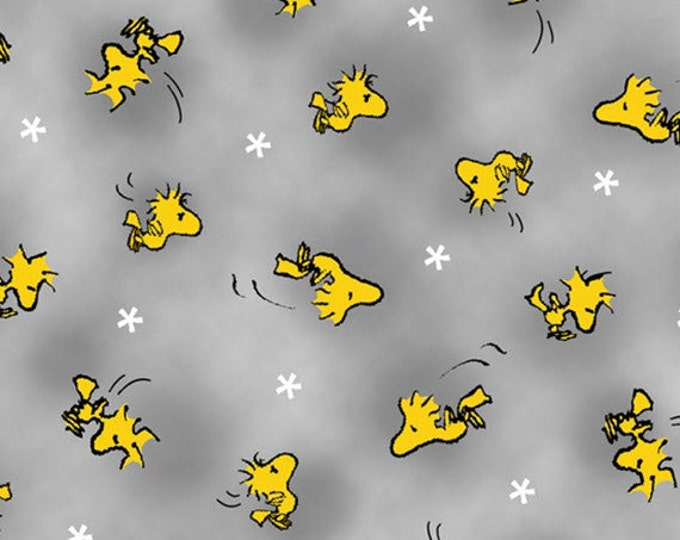 Half Yard Peanuts - Snoopy the Flying Ace - Woodstock Toss in Gray - Cotton Quilt Fabric - Quilting Treasures - 24014-K (W3130)