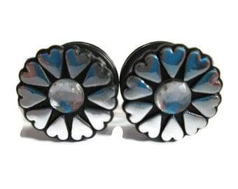 Clearance Sale - Black and Silver Tiny hearts Gages Plugs available in 1/2 in, 9/16 in, and 5/8 in.