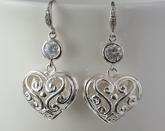Silver Heart Earrings, Puffy Hearts, Cubic Zirconia Jewelry, 3D Heart Charms, Heart Lace Earrings, Valentine's Day Hearts, Anniversary E2103