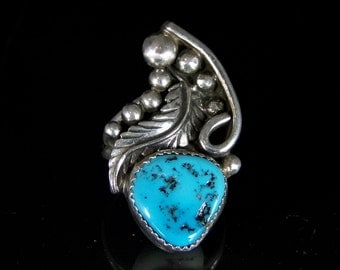 Sleeping Beauty Turquoise Ring Sterling Silver Handmade Size 8.5, R0484