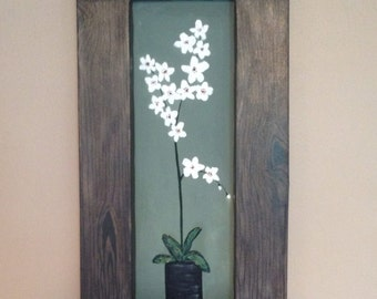 White orchids,framed painting,shadow box painting,green painting,flower painting,white flowers,floral