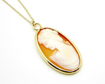 Vintage Gold Filled Cameo Necklace - Cameo Pendant - Art Deco Shell Carved Oblong Cameo Gold Filled Bezel with Chain Necklace