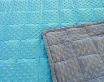 Aqua/Grey minky weighted blanket 35X40 & 40X60