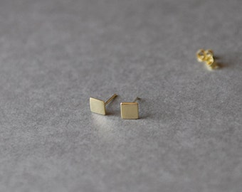 Gold Square Stud Earrings- Gold plated over Sterling Silver