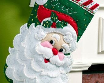 "Jolly St. Nick  Bucilla 18"" Felt Christmas Stocking Kit #86648 DIY"