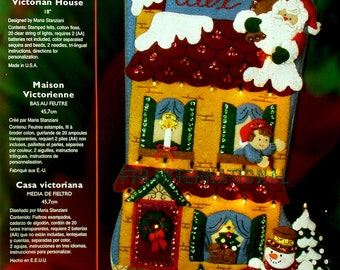 "Bucilla Victorian House ~ 18"" Felt Christmas Stocking Kit #85309 DIY"