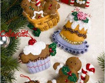 Santa's Sweet Shop ~ Bucilla 6 Piece Felt Ornament Kit #86187, Gingerbread Man DIY