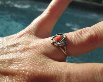 Coral and Sterling Feather Ring Size 5.75