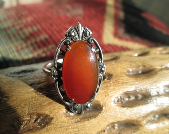 Vintage Carnelian, Marcasite and Sterling Ring Size 6.25