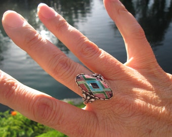 Carolyn Pollack Multi- Stone and Sterling Ring Size 10.5