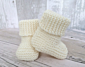 Baby Booties, Knitted Baby Booties, Gender Neutral Baby Gifts, Stay On Booties, White Baby Shoes, Infant Booties, Crib Shoes, New Baby Gift