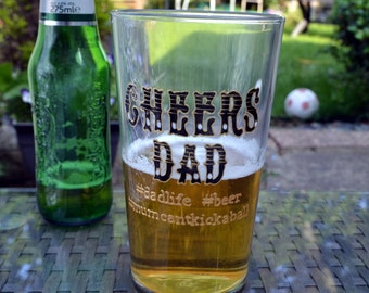 Cheers Dad - personalised pint glass, Father's Day gift, Dad glass, Dad gift, beer glass, football Dad