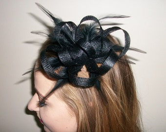 Black Fascinator Hair Clip Black Feather fascinator Weddings Evening wear Races Hair Accessory Hand made