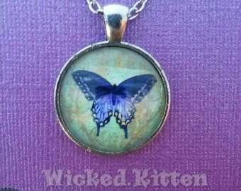 Purple Butterfly Glass Cameo Pendent