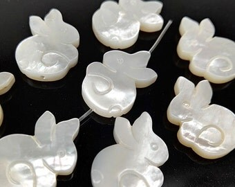 6pcs 18x12mm White Mother of Pearl Carved Rabbit Beads White MOP Rabbit Charm