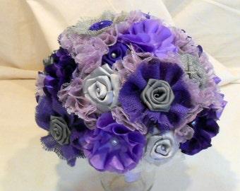 Wedding Bouquet, Bridal Bouquet, Burlap Bouquet, Fabric Bouquet, Keepsake Bouquet, Bridesmaid Bouquet, Purple, Gray