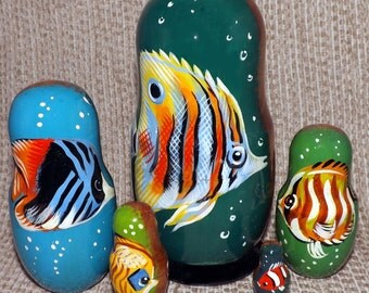Exotic Fish on Five Russian Nesting Dolls. Ocean Life.