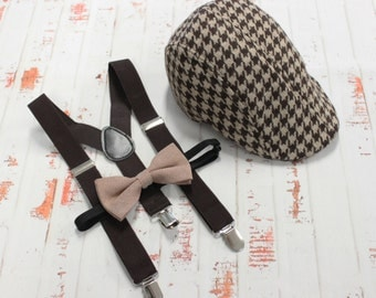 Ring Bearer, Wedding 3 Piece set - Brown Houndstooth Newsboy Hat with suspenders and linen Bow Tie (your choice) Fits boys 2-5 years old