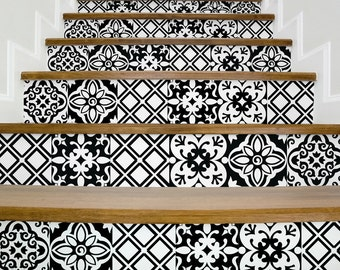 Stair decals BLACK and WHITE,beautiful stair stickers,decals for stairs,vinyl stickers,living room,staircase design,stairway decor
