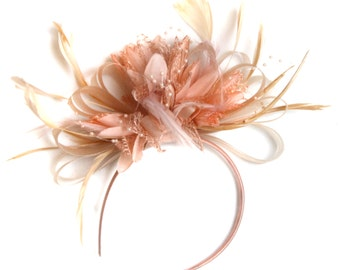 All Nude Salmon pink Peach Fascinator on Headband Alice Band UK Wedding Ascot Races Loop