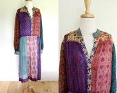 Rare Vintage 1970s Judith Ann For Heiser-Egan Silk Indian Dress Size Large