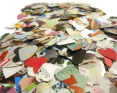 Multicolored Magazine Page Confetti Paper Hearts - Perfect for Parties, Graduations, and New Years, Pack of 50