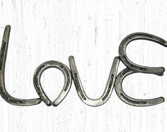 Horse Shoe, Horseshoe Art, Horse Shoe Wall Decor - Rustic Home Decor, Love Signs, Horseshoe Love Sign,
