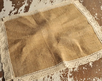 36*36cm Burlap with cotton Lace
