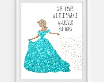 She Leaves A Little Sparkle Wherever She Goes' Princess Art Print, Faux Gold Glitter, Girls Room Wall Art, Nursery Wall Art, Nursery Decor