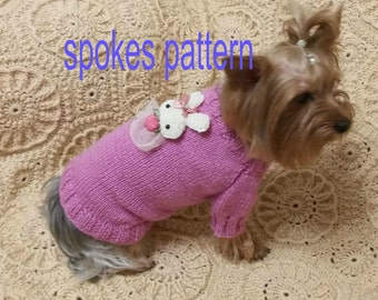 DIGITAL PATTERN: Knit Dog Clothes Pattern, Knit Dog Sweater Pattern, Small Dog Sweater, Cabled Dog Sweater, dog sweater pattern, Pet Fashion