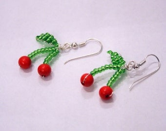 Kitsch Beaded Cherry Earrings