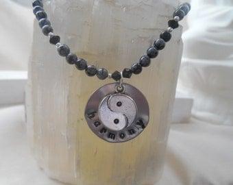 Harmony Black Obsidian Necklace with Yin Yang Charm